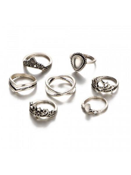 Zestaw 7 sztuk pierścionków boho srebrne