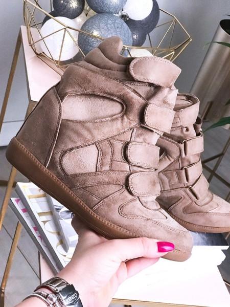 Sneakersy zamszowe-BEŻ