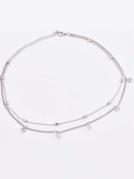 Naszyjnik multi celebrytka kryształki srebrny