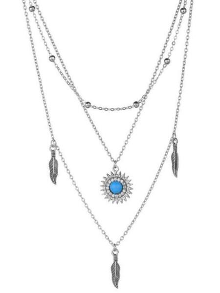 Naszyjnik multi niebieskie kryształki boho