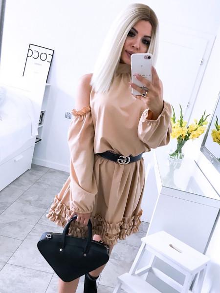 Rozkloszowana sukienka z falbankami CARINA