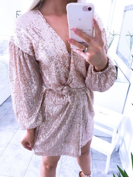 Cekinowa sukienka z paskiem JENNIFER
