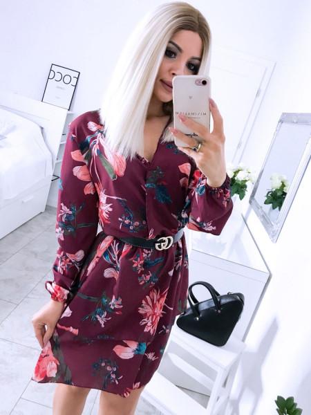 Sukienka w kwiatowy print AURELIE - musztarda