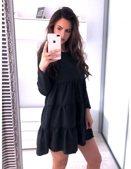 Trapezowa sukienka z falbankami LEXIE - czerń