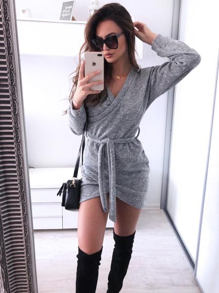 Swetrowa sukienka CATHERINA - szary melanż