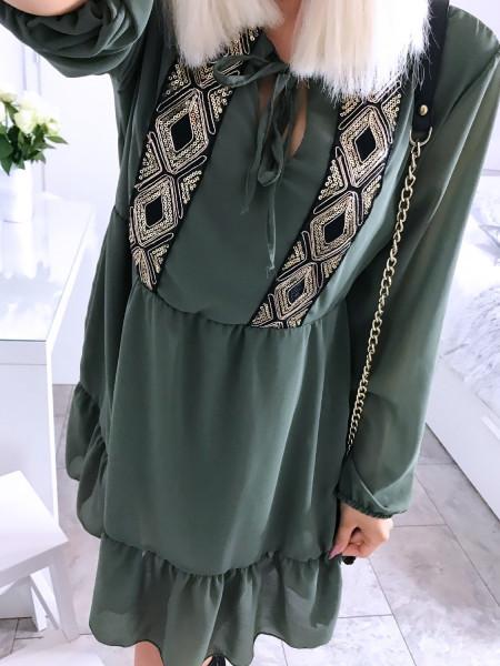 Trapezowa sukienka z cekinami  CHERYL - khaki