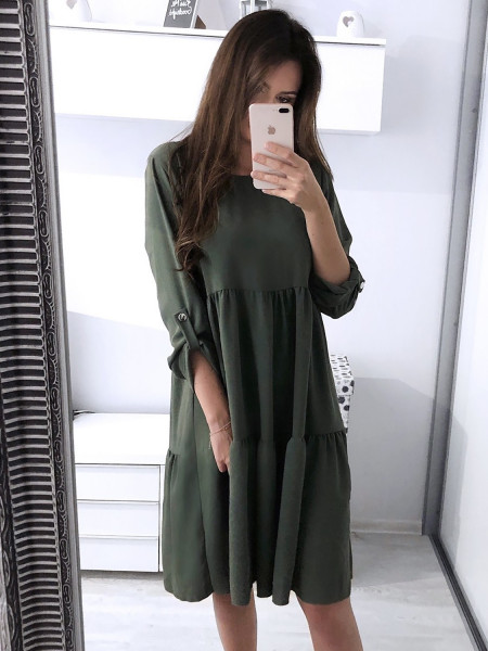 Rozkloszowana sukienka z falbanami ELIZABETH - khaki