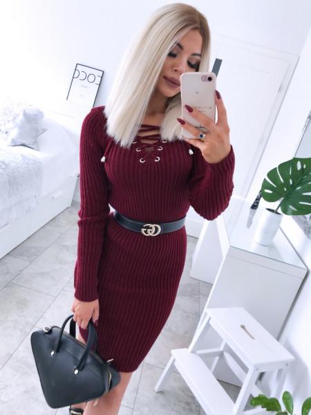Dopasowana sweterkowa sukienka JESSICA - bordo