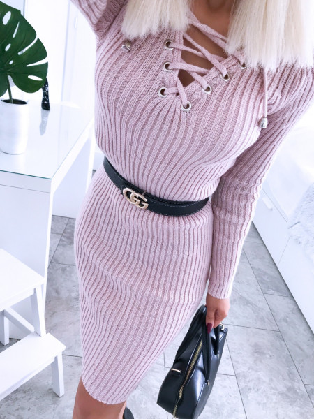 Dopasowana sweterkowa sukienka JESSICA - puder