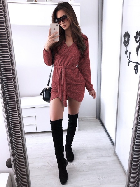 Swetrowa sukienka CATHERINA - malina
