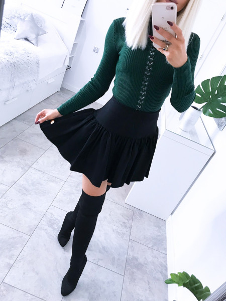 Prążkowany sweter z aplikacją Karolina - Butelkowa zieleń