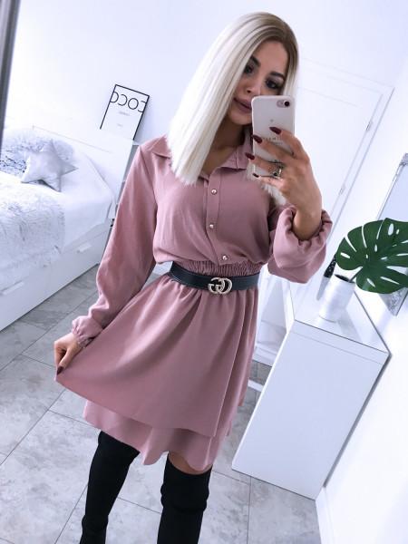 Rozkloszowana sukienka szmizjerka GRECJA- pudrowy róż