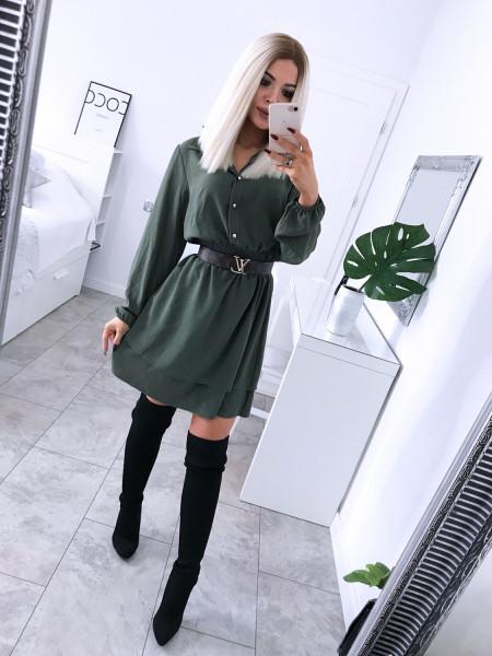 Rozkloszowana sukienka szmizjerka GRECJA- khaki