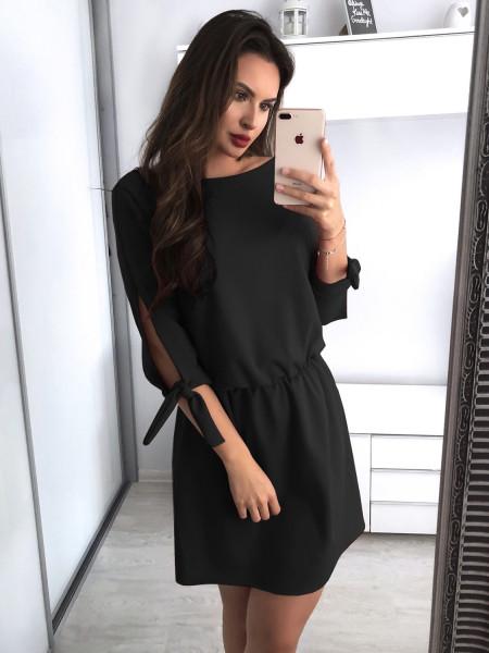 Sukienka mini z wiązaniem MARCJANNA - czerń