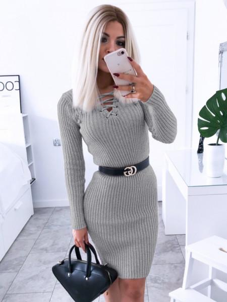 Dopasowana sweterkowa sukienka JESSICA - popiel