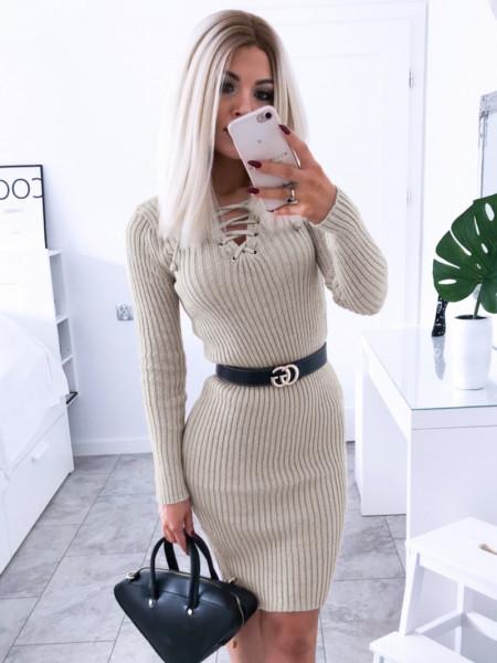 Dopasowana sweterkowa sukienka JESSICA - beż