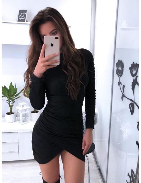 Zamszowa asymetryczna sukienka ANIKA - czerń