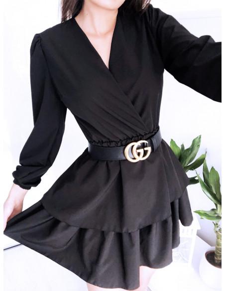 Rozkloszowana sukienka z podwójną falbaną DALIA - czerń