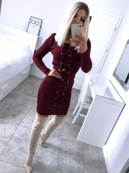 Dopasowana sweterkowa sukienka VANESSA - bordo