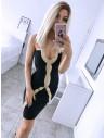 Dopasowana sukienka bodycon z lampasem MARTINA - czerń