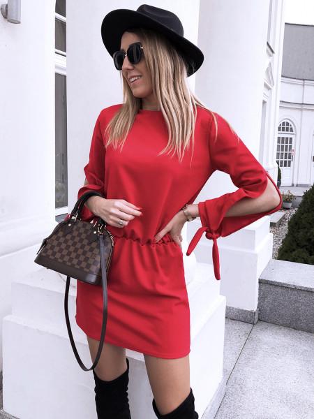 Sukienka wiązana w pasie ANNE - Malina