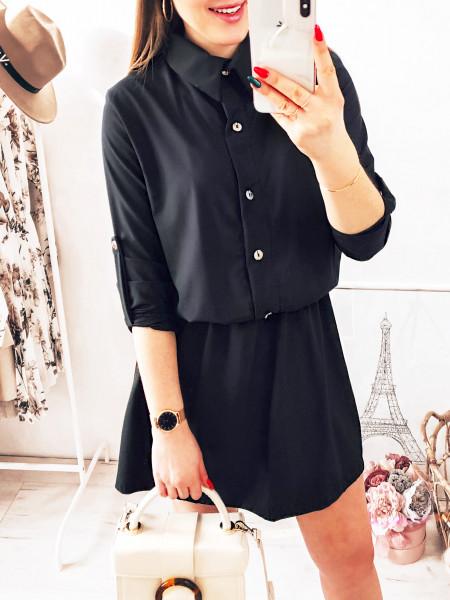 Sukienka mini szmizjerka - DOMINGA - czerń