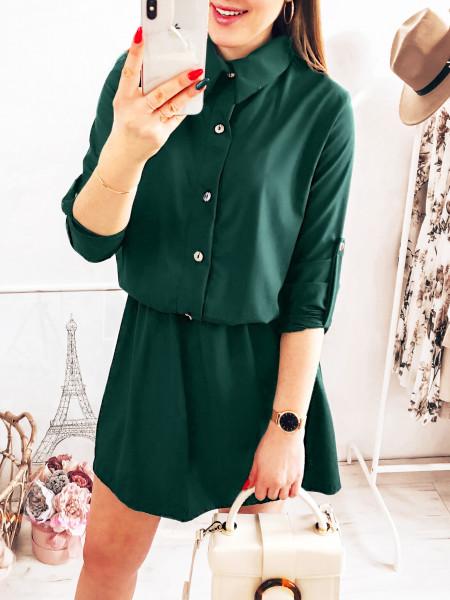 Sukienka mini szmizjerka - DOMINGA - butelkowa zieleń